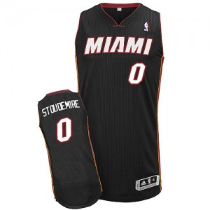 Maillot NBA Noir Amar'e Stoudemire #0 Miami Heat Road Authentic Homme Adidas
