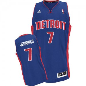 Maillot NBA Bleu royal Brandon Jennings #7 Detroit Pistons Road Swingman Homme Adidas