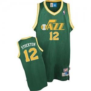 Maillot NBA Vert John Stockton #12 Utah Jazz Throwback Authentic Homme Adidas