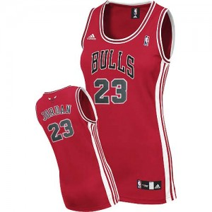 Maillot NBA Chicago Bulls #23 Michael Jordan Rouge Adidas Swingman Road - Femme