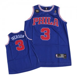 Philadelphia 76ers #3 10TH Throwback Bleu Swingman Maillot d'équipe de NBA Discount - Allen Iverson pour Homme