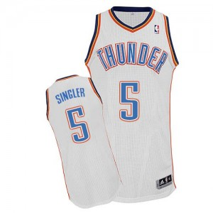 Maillot NBA Oklahoma City Thunder #5 Kyle Singler Blanc Adidas Authentic Home - Homme