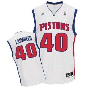 Maillot NBA Blanc Bill Laimbeer #40 Detroit Pistons Home Swingman Homme Adidas