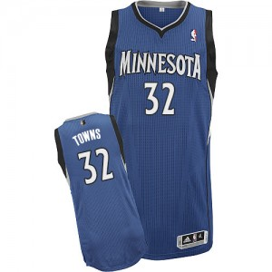 Minnesota Timberwolves Karl-Anthony Towns #32 Road Authentic Maillot d'équipe de NBA - Slate Blue pour Homme