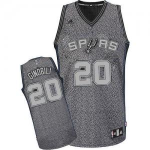 Maillot NBA San Antonio Spurs #20 Manu Ginobili Gris Adidas Swingman Static Fashion - Homme