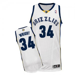 Maillot Adidas Blanc Home Authentic Memphis Grizzlies - Brandan Wright #34 - Homme