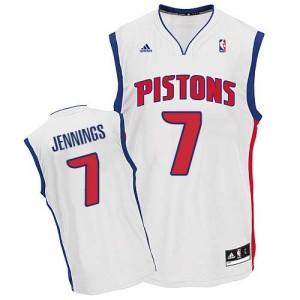 Maillot NBA Blanc Brandon Jennings #7 Detroit Pistons Home Swingman Homme Adidas