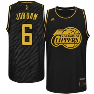 Maillot NBA Los Angeles Clippers #6 DeAndre Jordan Noir Adidas Authentic Precious Metals Fashion - Homme