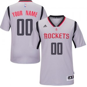 Maillot NBA Houston Rockets Personnalisé Swingman Gris Adidas Alternate - Femme