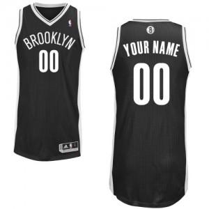 Brooklyn Nets Authentic Personnalisé Road Maillot d'équipe de NBA - Noir pour Homme