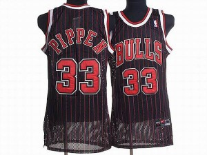 Maillot NBA Chicago Bulls #33 Scottie Pippen Noir Rouge Nike Authentic Throwback - Homme