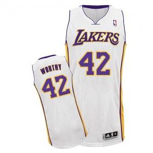 Los Angeles Lakers #42 Adidas Alternate Blanc Authentic Maillot d'équipe de NBA Braderie - James Worthy pour Homme