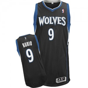 Maillot Authentic Minnesota Timberwolves NBA Alternate Noir - #9 Ricky Rubio - Enfants