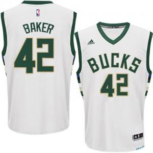Maillot NBA Blanc Vin Baker #42 Milwaukee Bucks Home Swingman Homme Adidas