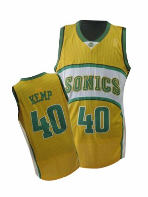 Oklahoma City Thunder Shawn Kemp #40 Throwback SuperSonics Authentic Maillot d'équipe de NBA - Jaune pour Homme