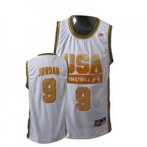 Team USA #9 Nike No. d'or Rouge Authentic Maillot d'équipe de NBA sortie magasin - Michael Jordan pour Homme