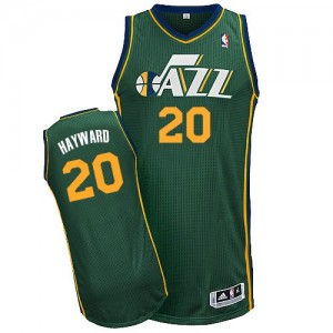 Maillot NBA Utah Jazz #20 Gordon Hayward Vert Adidas Authentic Alternate - Homme