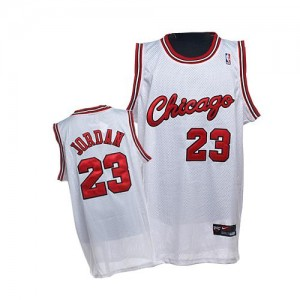Maillot NBA Chicago Bulls #23 Michael Jordan Blanc Nike Authentic Throwback Crabbed Typeface - Homme