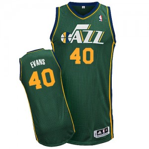 Maillot NBA Vert Jeremy Evans #40 Utah Jazz Alternate Authentic Homme Adidas