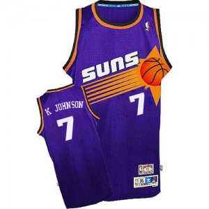 Maillot NBA Violet Kevin Johnson #7 Phoenix Suns Throwback Authentic Homme Adidas