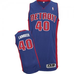 Maillot NBA Bleu royal Bill Laimbeer #40 Detroit Pistons Road Authentic Homme Adidas