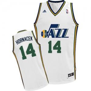 Maillot NBA Blanc Jeff Hornacek #14 Utah Jazz Home Swingman Homme Adidas