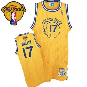 Maillot Adidas Or Throwback 2015 The Finals Patch Authentic Golden State Warriors - Chris Mullin #17 - Homme