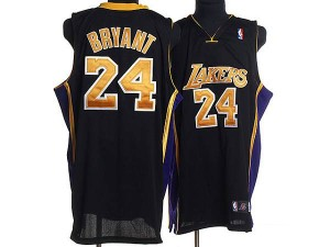 Maillot Adidas Noir / Or Champions Patch Authentic Los Angeles Lakers - Kobe Bryant #24 - Homme