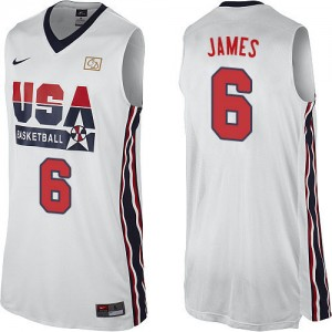 Team USA #6 Nike 2012 Olympic Retro Blanc Swingman Maillot d'équipe de NBA pour pas cher - LeBron James pour Homme
