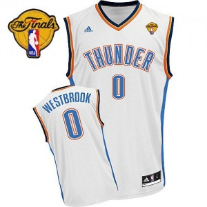 Maillot Swingman Oklahoma City Thunder NBA Home Finals Patch Blanc - #0 Russell Westbrook - Homme
