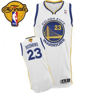 Maillot Adidas Blanc Home 2015 The Finals Patch Authentic Golden State Warriors - Mitch Richmond #23 - Homme