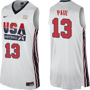 Maillot NBA Blanc Chris Paul #13 Team USA 2012 Olympic Retro Authentic Homme Nike