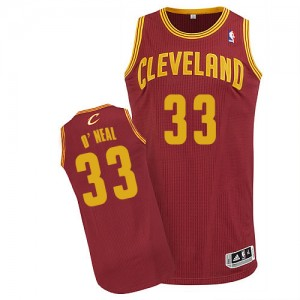 Maillot NBA Cleveland Cavaliers #33 Shaquille O'Neal Vin Rouge Adidas Authentic Road - Homme