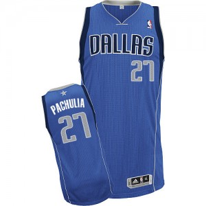 Dallas Mavericks Zaza Pachulia #27 Road Authentic Maillot d'équipe de NBA - Bleu royal pour Homme