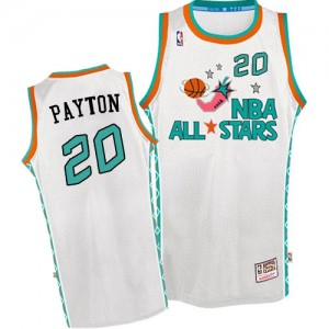 Oklahoma City Thunder Mitchell and Ness Gary Payton #20 Throwback 1996 All Star Authentic Maillot d'équipe de NBA - Blanc pour Homme