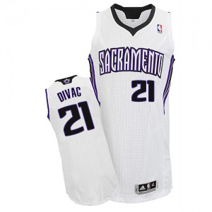 Maillot NBA Blanc Vlade Divac #21 Sacramento Kings Home Authentic Homme Adidas
