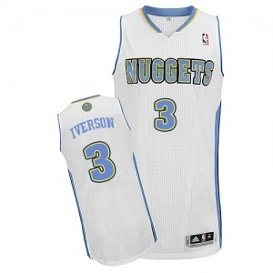Denver Nuggets Allen Iverson #3 Home Authentic Maillot d'équipe de NBA - Blanc pour Homme