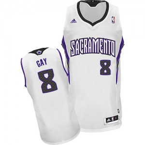 Maillot NBA Blanc Rudy Gay #8 Sacramento Kings Home Swingman Homme Adidas
