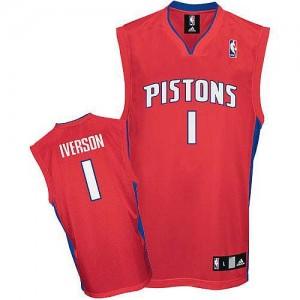 Maillot NBA Detroit Pistons #1 Allen Iverson Rouge Adidas Authentic - Homme
