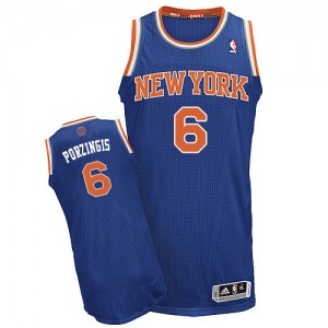 New York Knicks #6 Adidas Road Bleu royal Authentic Maillot d'équipe de NBA Soldes discount - Kristaps Porzingis pour Homme