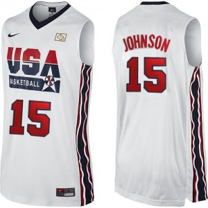 Team USA #15 Nike 2012 Olympic Retro Blanc Swingman Maillot d'équipe de NBA Promotions - Magic Johnson pour Homme