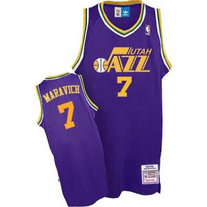 Maillot Adidas Violet Throwback Authentic Utah Jazz - Pete Maravich #7 - Homme