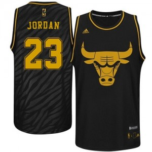 Maillot Adidas Noir Precious Metals Fashion Authentic Chicago Bulls - Michael Jordan #23 - Homme