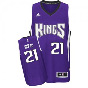 Maillot NBA Violet Vlade Divac #21 Sacramento Kings Road Swingman Homme Adidas