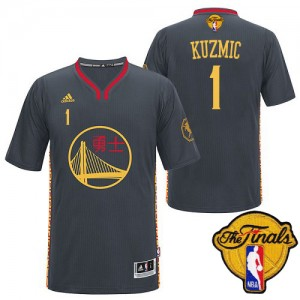 Maillot Adidas Noir Slate Chinese New Year 2015 The Finals Patch Authentic Golden State Warriors - Ognjen Kuzmic #1 - Homme