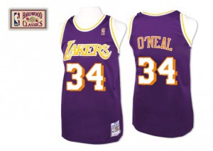 Maillot Authentic Los Angeles Lakers NBA Throwback Violet - #34 Shaquille O'Neal - Homme