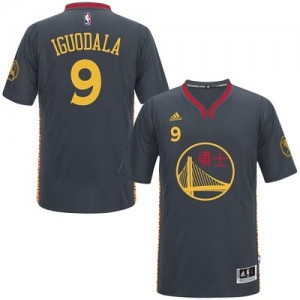 Golden State Warriors #9 Adidas Slate Chinese New Year Noir Authentic Maillot d'équipe de NBA magasin d'usine - Andre Iguodala pour Homme
