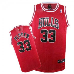 Maillot NBA Chicago Bulls #33 Scottie Pippen Rouge Nike Authentic - Homme