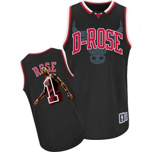 Maillot NBA Chicago Bulls #1 Derrick Rose Noir Adidas Authentic Notorious - Homme