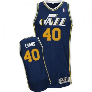 Maillot NBA Bleu marin Jeremy Evans #40 Utah Jazz Road Authentic Homme Adidas